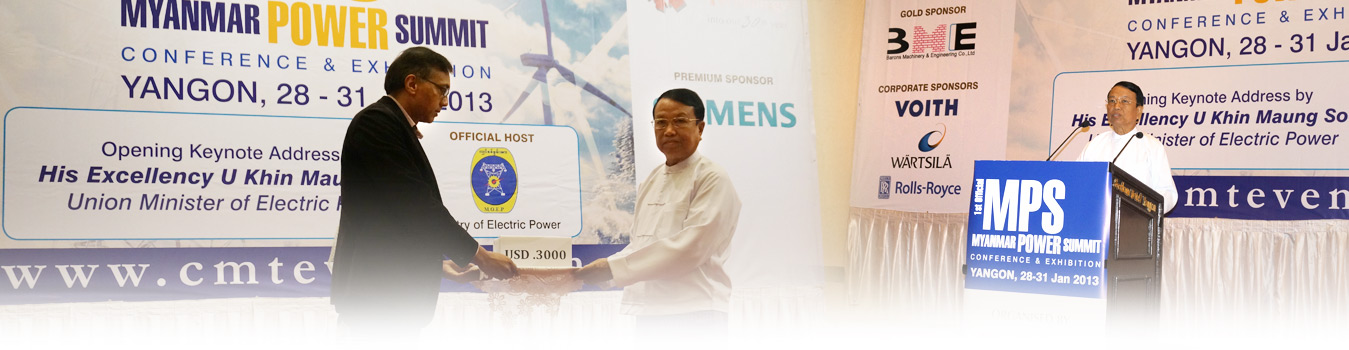 USD 3000 cash donation in support of the Myanmar government's relief and rehabilitation efforts for all the affected communities in Rakhine State was handed to H.E. U Khin Maung Soe, Union Minister of Electric Power.